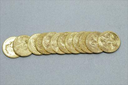Lot de 12 pièces en or de 20 Francs au Coq...
