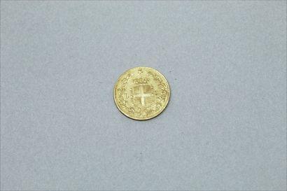 Pièce en or de 20 Lires Umberto Ier, R, 1882.  Poids : 6.45 g.