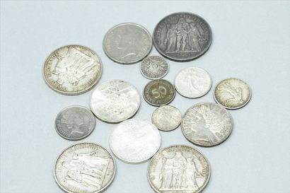 Lot de pièces en argent :  10 Francs Hercule...