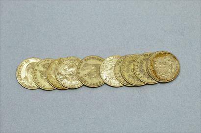 Lot de 10 pièces en or de 10 Francs :  -...
