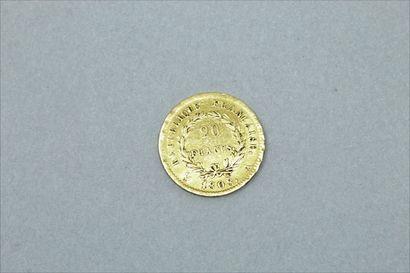 Pièce en or de 20 Francs Napoléon tête laurée (1808 A)  B à TB.  Poids : 6,45 g...