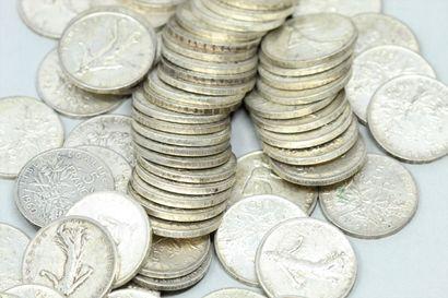 Lot de pièces en argent :  5 Francs Semeuse...
