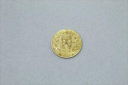 Pièce en or de 40 francs Louis XVIII 1824 A (Paris) avec un point à la fin de la...