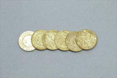 Lot de six pièces en or de 20 francs Génie....
