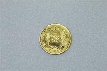 Pièce en or de 40 francs Louis XVIII (1818).  Poids : 12.9 g.  On y joint une monture...