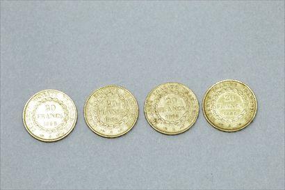 Quatre pièces en or 20 francs Génie 1886 A - 1889 A - 1896 A - 1898 A (Paris).  Poids...