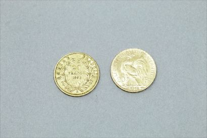 Lot of 2 gold coins of 20 Francs : Napoleon III bare head (1853 A) and with a rooster...