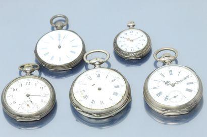 Lot de quatre montres de gousset et une montre...