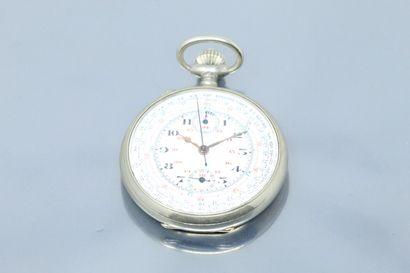 Chronomètre en métal, cadran à fond émaillé...