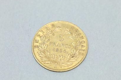 Pièce en or de 5 francs Napoléon tête nue 1864 A (Paris).    Poids : 1.60 g. TB...
