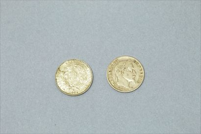 Deux pièces en or de 10 francs Napoleon III...