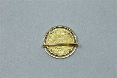 Gold coin of 20 francs Louis Philippe (1839 A - Paris)  Mounted on a brooch in 18k...