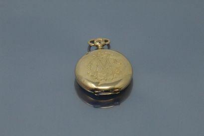 Montre de gousset en or jaune 18k (750), cadran à fond blanc émaillé, chiffres romains...
