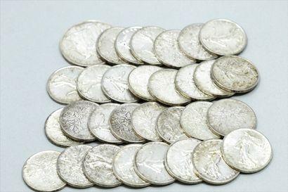 Lot de 29 pièces en argent de 5 francs et...