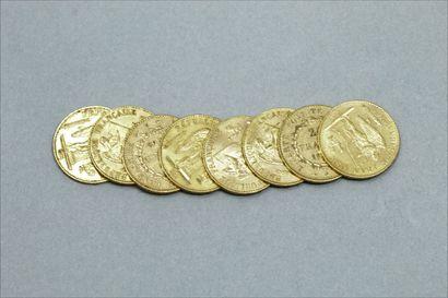 Lot de 8 pièces en or de 20 Francs au Génie  A Paris :1875, 1878x2, 1879, 1895,...