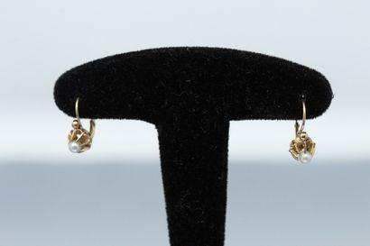 Paire de boucles d'oreilles en or jaune 18k...