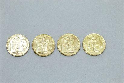 Quatre pièces en or 20 francs Génie 1886...