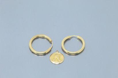 Petit lot d'or jaune 18k (750) comprenant...