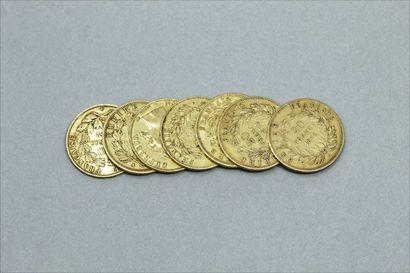 Lot de 7 pièces en or de 20 Francs Napoléon...