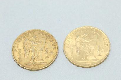 Lot de 2 pièces en or de 20 Francs or au...