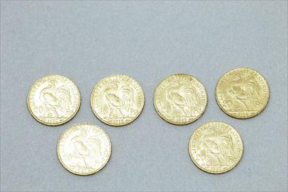 Lot de six pièces en or de 20 francs Coq....