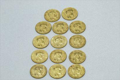 Lot de 14 pièces en or de 20 Francs Napoléon...
