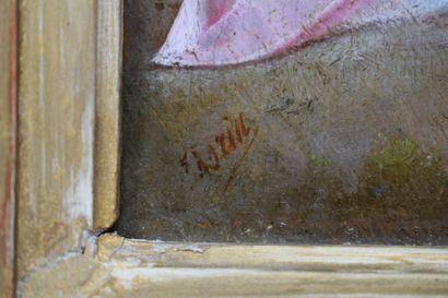 ECOLE ROMANTIQUE,  Oiseau tombé du nid,  Huile sur panneau, trace de signature en...