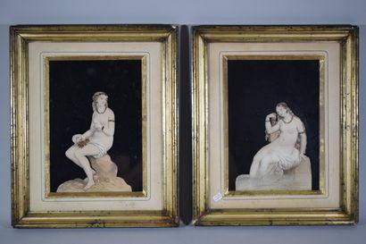 Paire de gravures figurant deux Naïades en...