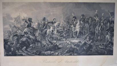 La bataille d'Austerlitz gravure d'après François GÉRARD, dans un encadrement doré...