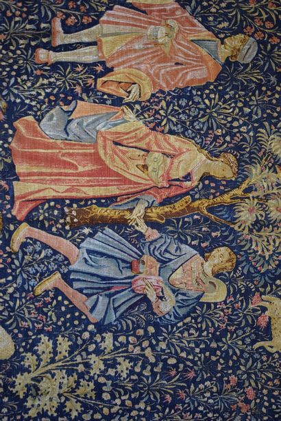 """Tapisserie """" danse """" copie des éditions Artis Flora, modèle fin XVe exposé au musée..."""
