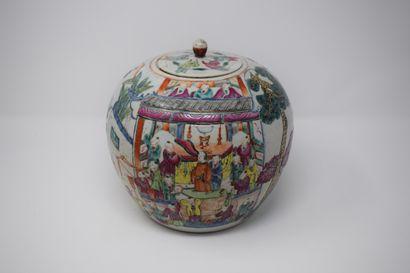 CHINE  Pot à gingembre en porcelaine polychrome,...