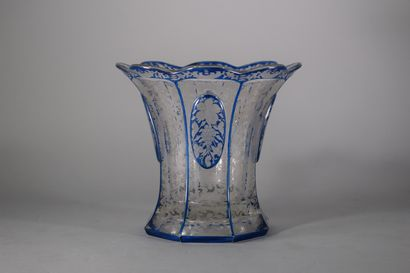 Vase corbeille en verre double couche à huit...
