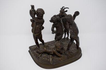 Le jeu des enfants  Bronze à patine brune...