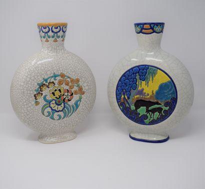 LONGWY  Paire de vase de forme gourde en...
