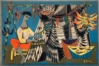 DEBIEVE Robert (1926-1994)  Le remailleur de filets, impression sur tissu, signé...