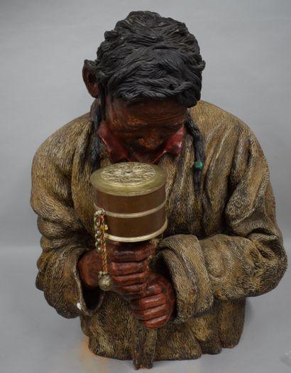 ECOLE MODERNE - Début XXème  Buste de Tibétain...
