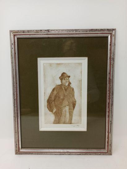 MONTET MAURICE, 1905-1997 Ouvriers et indigents Suite de 3 gravures à l'encre brune,...