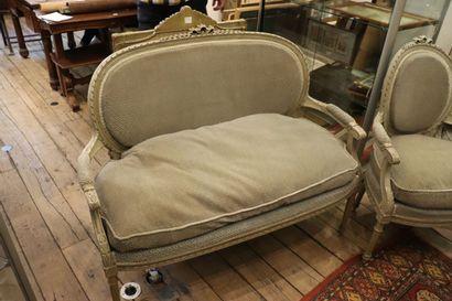 Mobilier de salon en bois laqué gris, de...