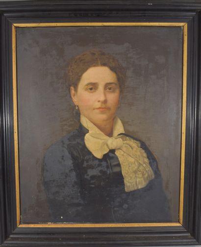 Portrait de femme en robe bleue et lavallière blanche, linographie sur toile signée...
