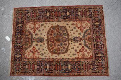Oriental rug beige background, borders with geometric decoration. H: 189 cm - L:...