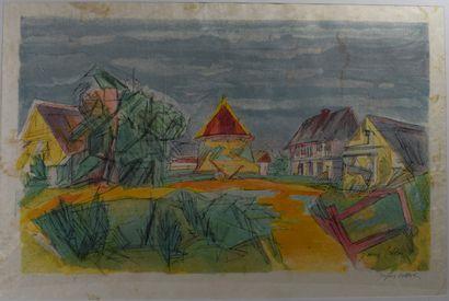 Jacques VILLON ( Attribué à)  Le village....