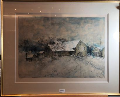 ANONYME  Paysage de neige  Lithographie,...