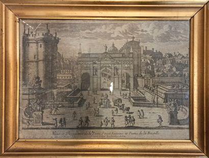 Gravure XVIIIe siècle,  La bastille  encadrée...