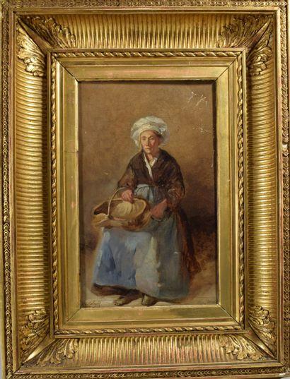 O. ROLLAND  Vieille femme, 1865,  Huile sur...