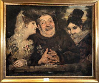 ECOLE XIXème siècle  Le Rire, Moine entre...