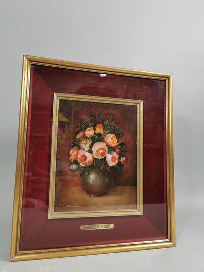 ROTHIERS  Bouquet de fleur  Huile sur panneau...