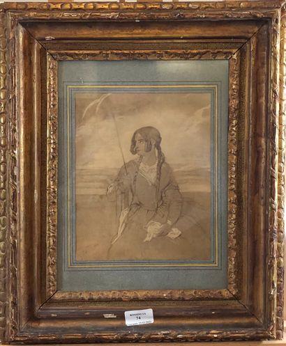 Portrait de Octavie de Merck  Dessin, signé...