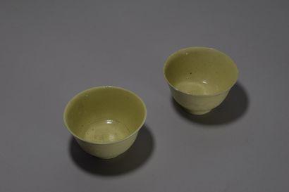 CHINE  Deux tasses en porcelaine type monochrome...