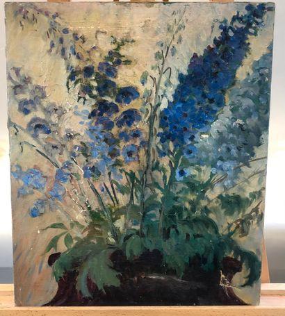 ECOLE MODERNE  Fleurs bleues  Huile sur toile...