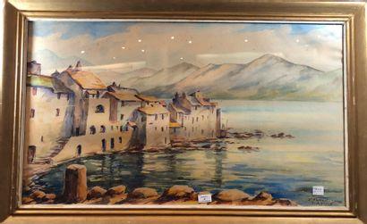 ASTRUC Paul (XXème siècle)  Saint-Florent (Haute-Corse - San Fiurenzu),  Aquarelle,...